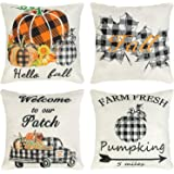 Ouddy Fall Pillow Cover 18 x 18 Set of 4, Pumpkin Truck Leaves Farmhouse Buffalo Plaid Throw Pillow Cushion Cases for…