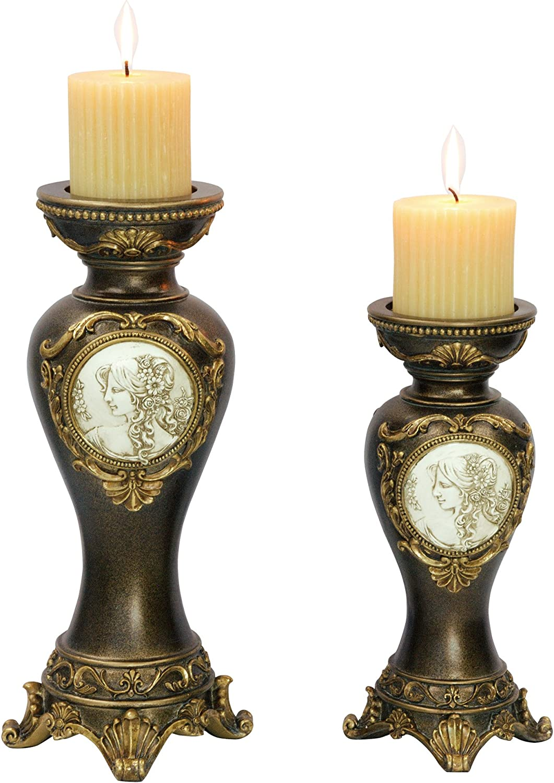 "OK Lighting Grecian Candleholder (Set of 2), 14.0"""