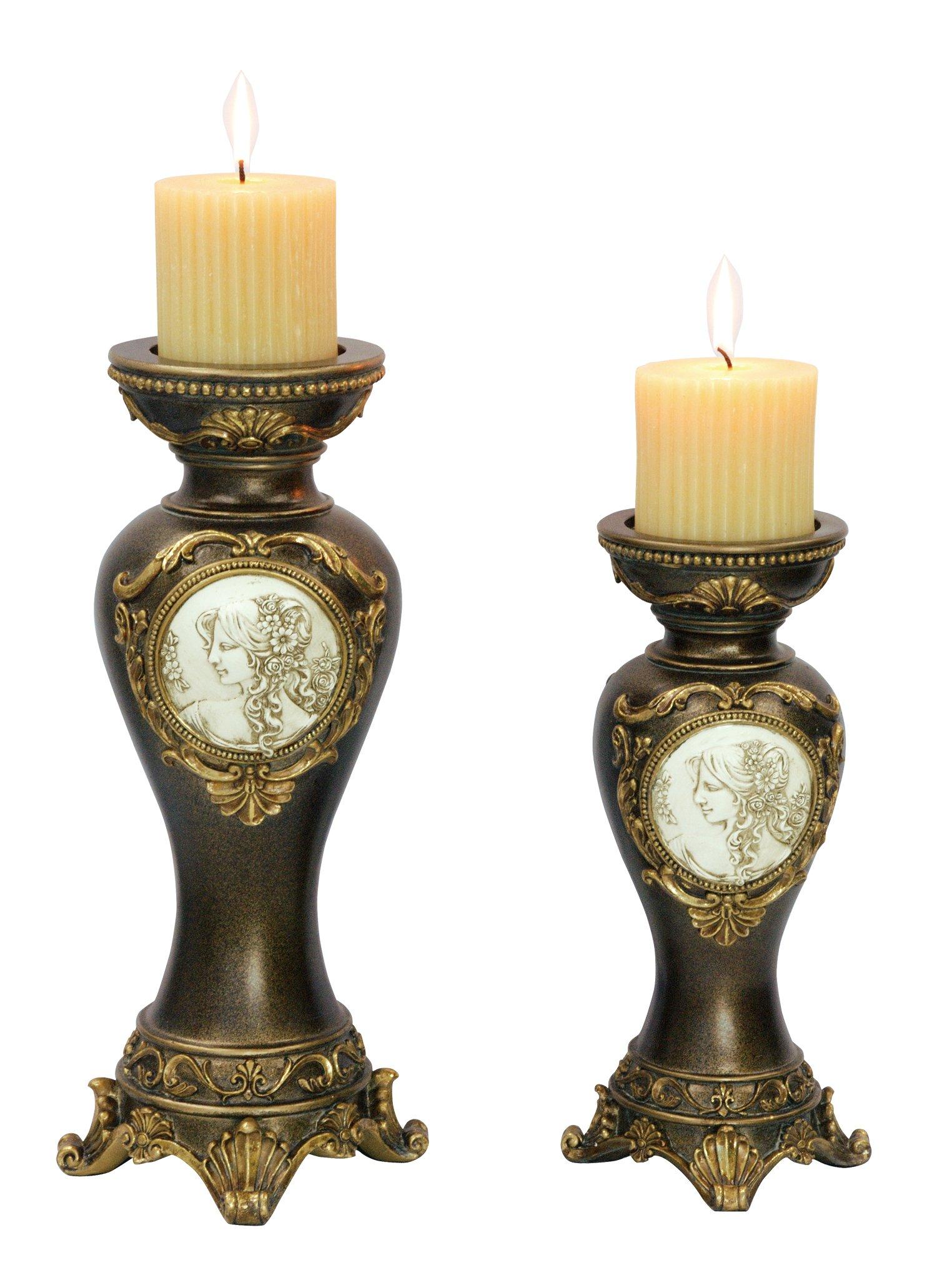 OK Lighting Grecian Candleholder (Set of 2), 14.0''