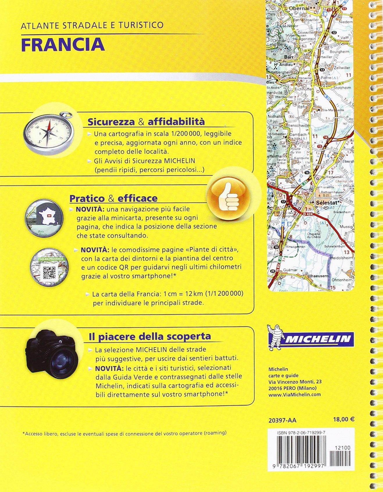 Cartina Stradale Francia Michelin.Amazon It Francia Atlante Stradale E Turistico 1 200 000