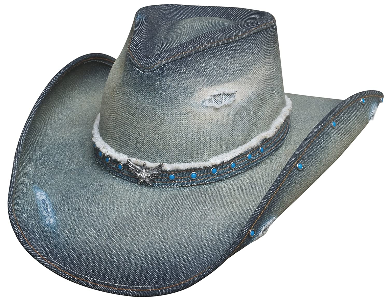 8ae6de0905c Bullhide Montecarlo Hats Silver Wings Denim Western Cowboy Hat at Amazon  Women s Clothing store