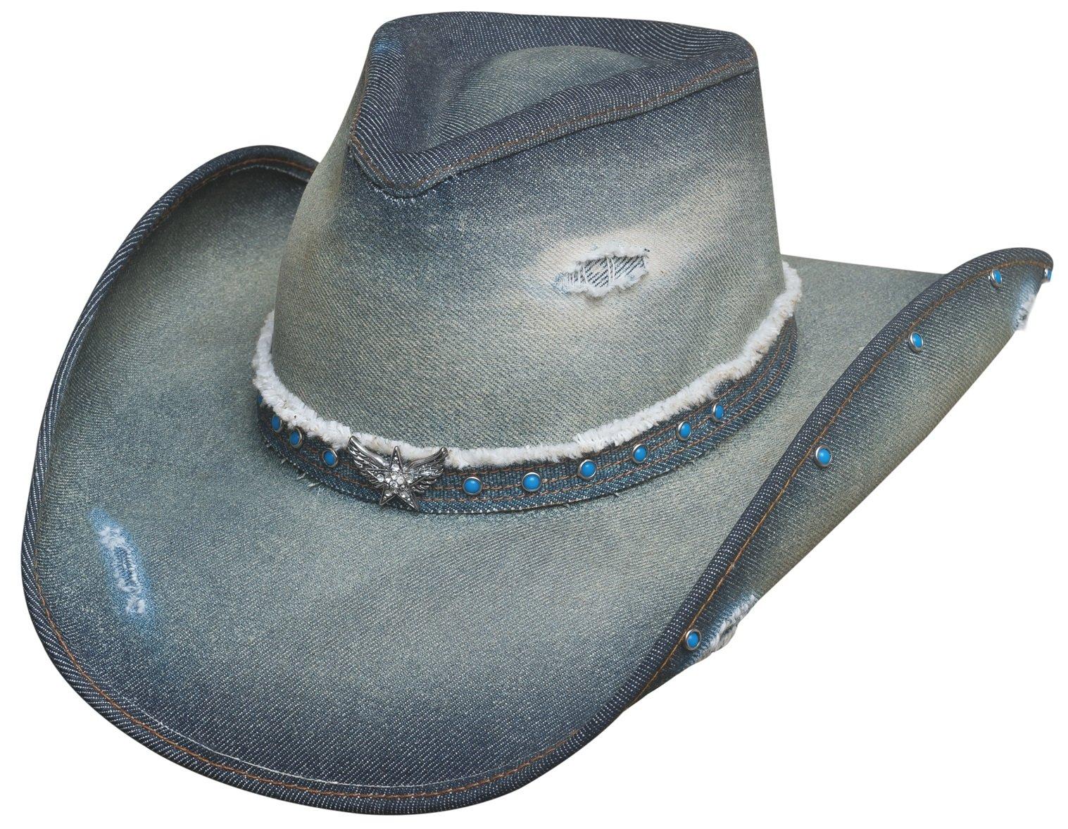 3328ed995a4 Bullhide Montecarlo Hats Silver Wings Denim Western Cowboy Hat product image