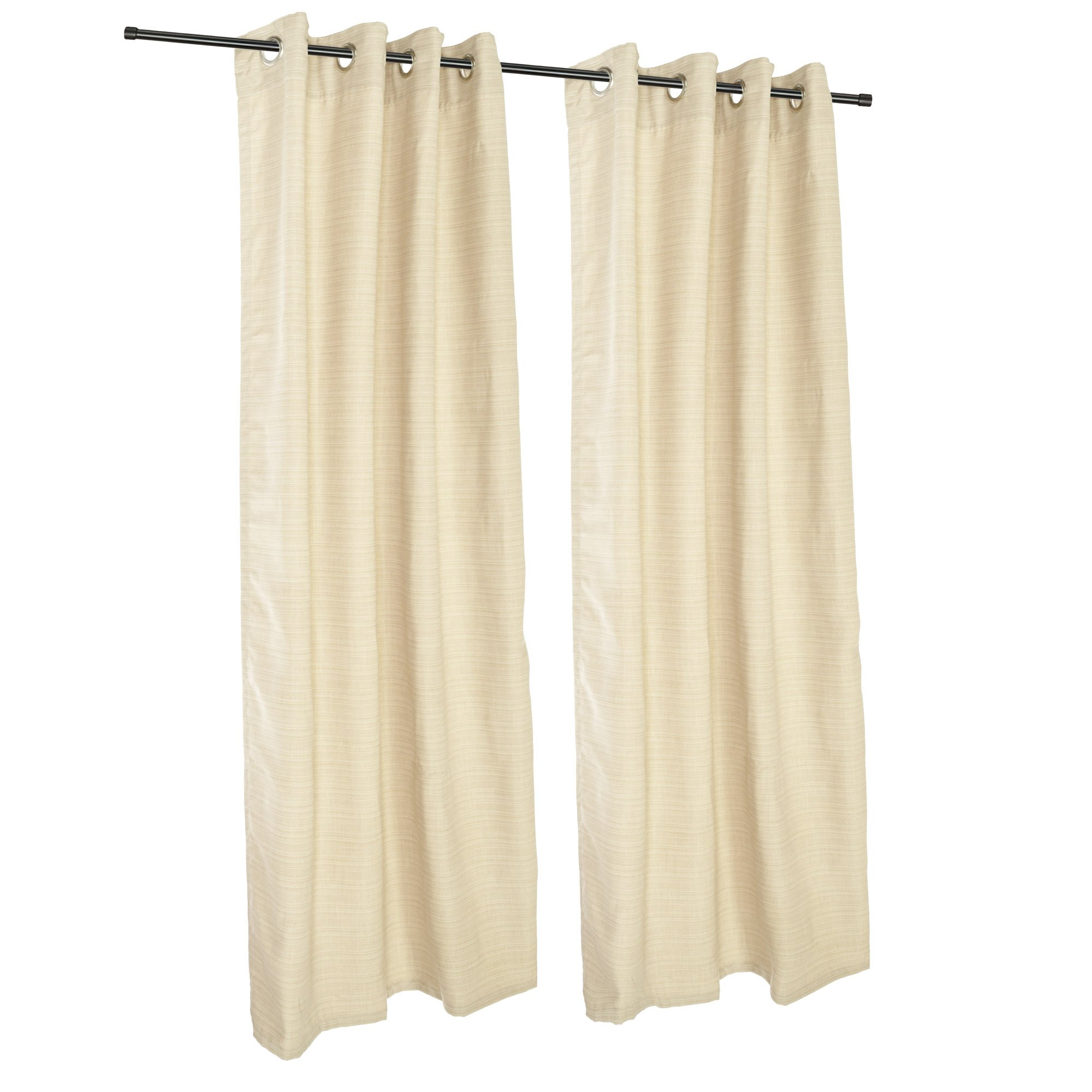 Sunbrella Outdoor Curtain with Grommets -Nickle Grommets-Dupione Pearl by Sunbrella