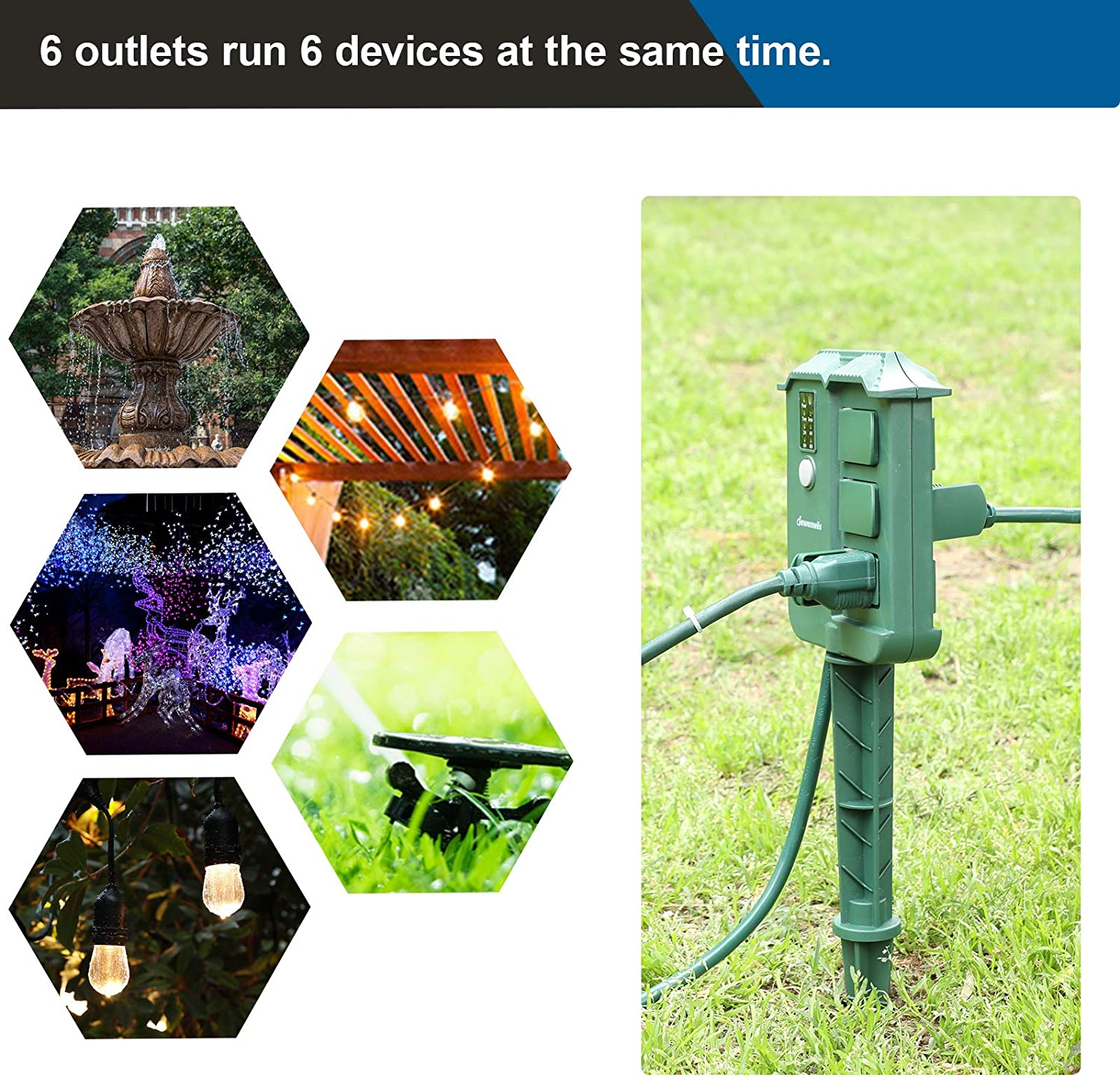 DEWENWILS Outdoor Power Strip Stake Timer with Remote, Waterproof Cover, 6 Grounded Outlets, 6 ft Extension Cord, 100 ft Remote Control, Electric Pool Timer for Christmas Lights, Ponds,13A UL Listed