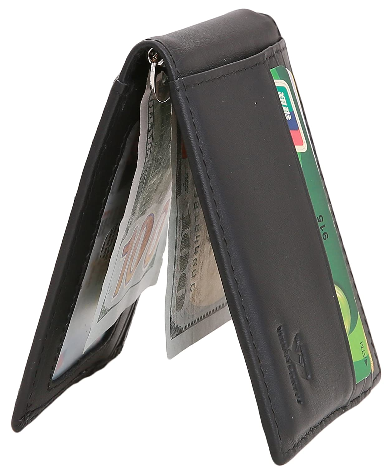 Mens Bifold Money Clip Card Wallet Slim Leather Front Pocket Wallet RFID Blocking (Coffee) MC046-YP1805091C2