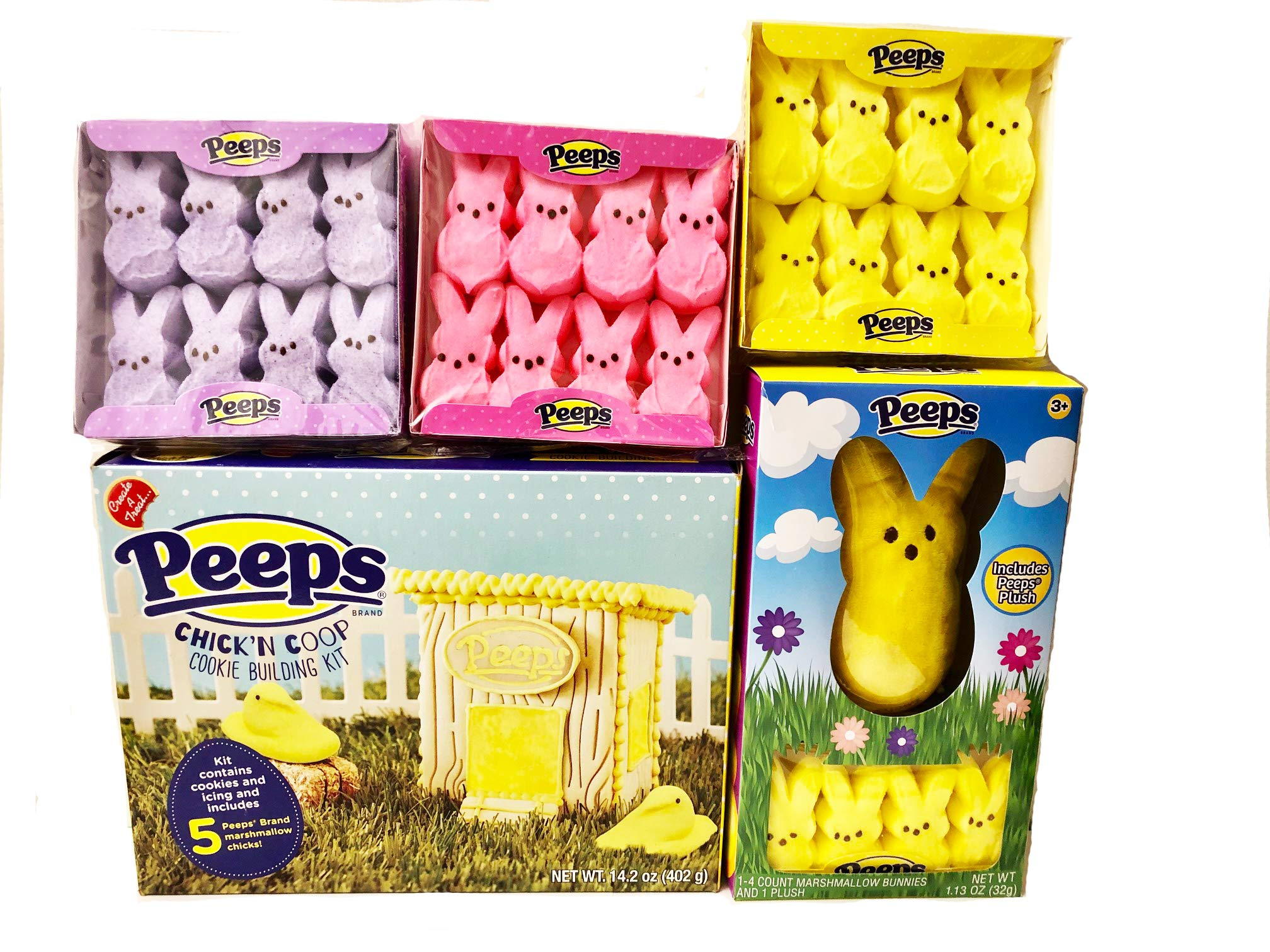 Peeps Cookie Building Kit Bundle with Bunny Plush Toy, and Yellow, Pink and Purple Bunny Peeps