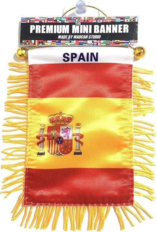 Banderas de España para espejo retrovisor interior de coche o para el hogar, se adhieren a ventanas de cristal de calidad rápida y fácil, pequeñas banderas colgantes para coche (1 bandera): Amazon.es: