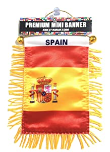 Spain Flags for car Interior Rearview Mirror or Home Sticks to Windows Glass Quick and Easy Quality Small Hanging Mini Banner Flags car Accessories (1 Flag