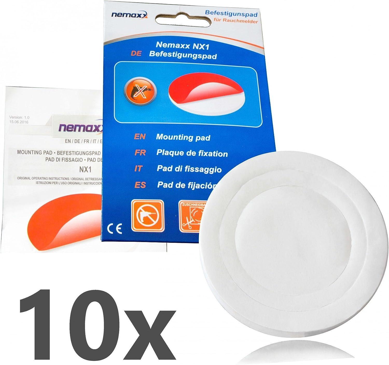 10x Plaquettes de Fixation Nemaxx NX1 Quickfix adh/ésif Puissant pour Une Installation Facile et fiable des d/étecteurs de fum/ée