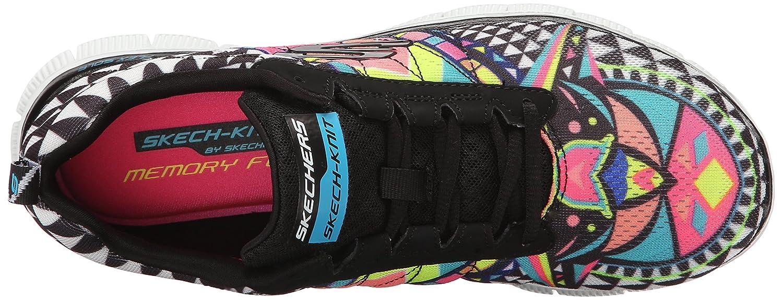 Skechers Sport Women's Pretty Please Flex Appeal Fashion Sneaker B013BC25U6 5.5 B(M) US|Black Rainbow