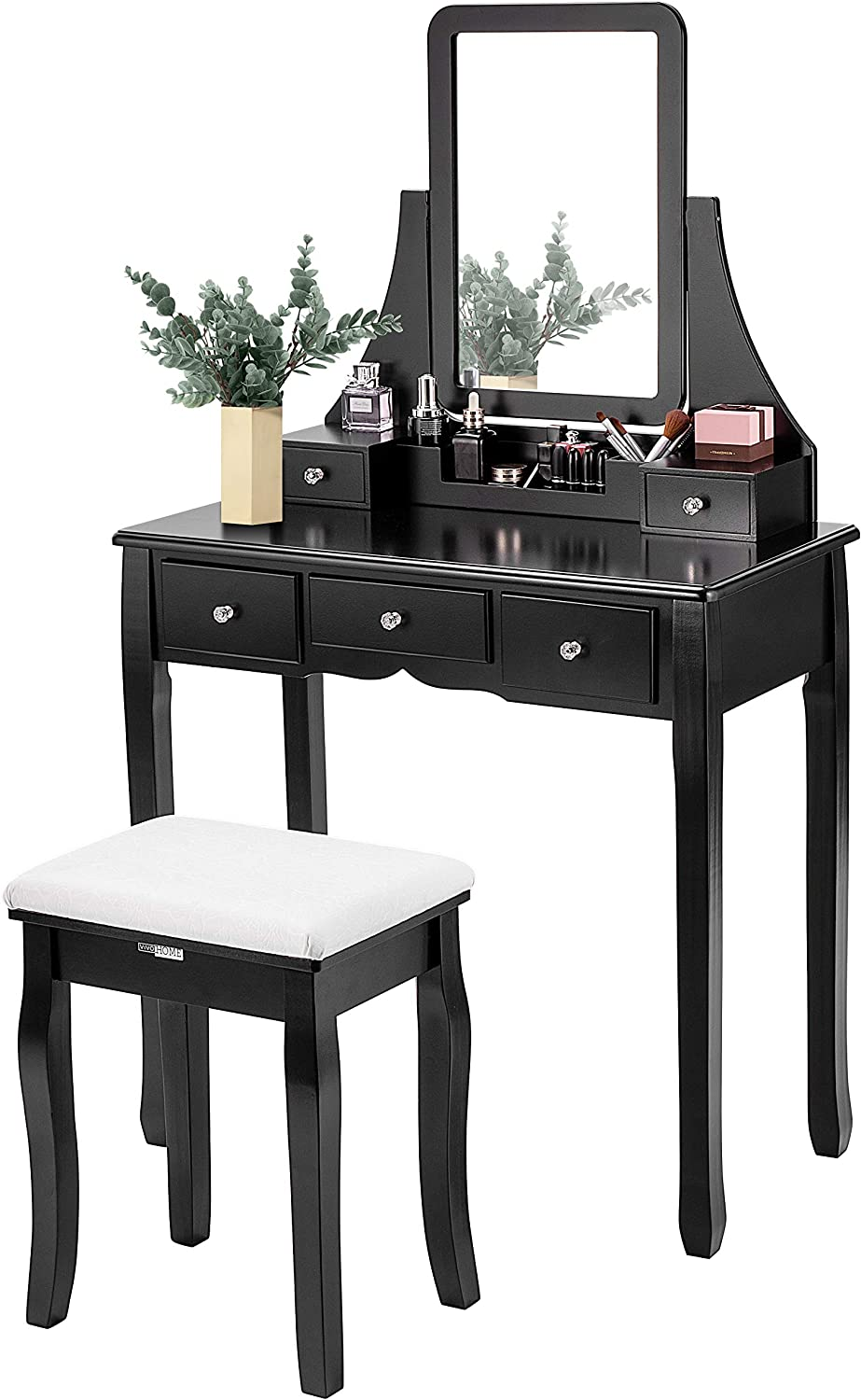 VIVOHOME Makeup Vanity Set with 5 Drawers and 1 Removable Organizer, Dressing Table with 360° Rotating Mirror and Cushioned Stool, Black