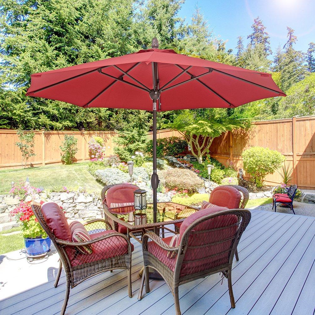 Outdoor Patio Umbrella 9 Feet Patio Market Table Umbrella with Push Button Tilt, Crank and Umbrella Cover, Red