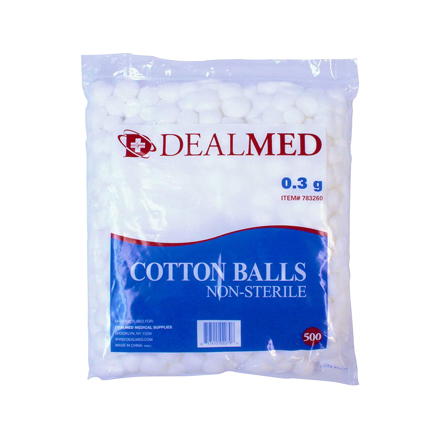 Cotton Balls Soft Non-Sterile 0.3 Gram Conveniently Packed in Zip-Locked Bag 1000 per Bag Dealmed