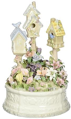 Cosmos 58010 Fine Porcelain Birdhouse Garden Musical Figurine, 7-3 4-Inch