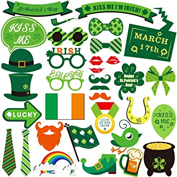 Tinksky Stpatrick Photo Booth Props Saint Pattys Party Photo Booth Props Funny Shamrock Rainbow Decorations 34pcs