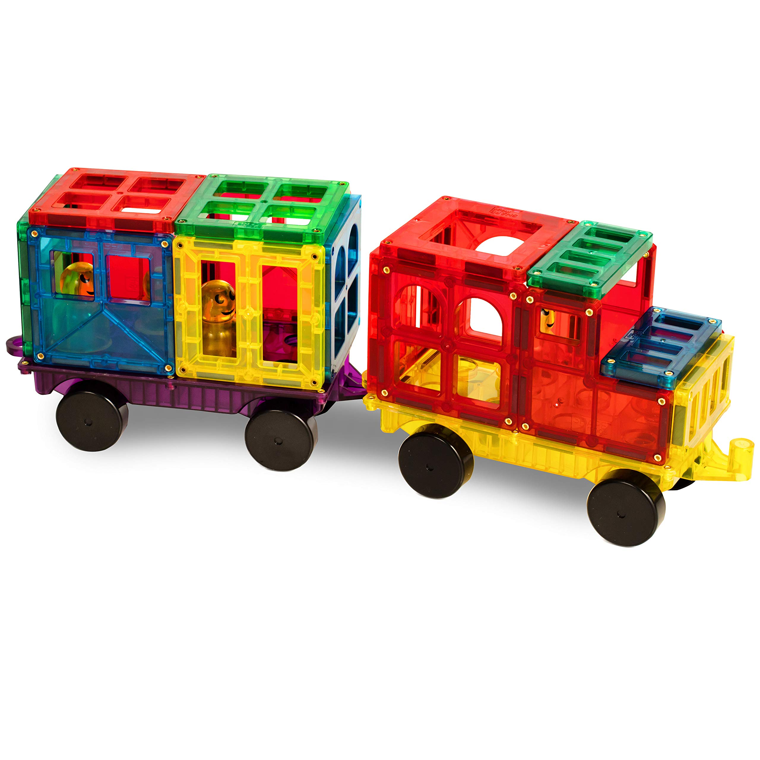 Shapemags Magnetic Tiles 50 Piece Building Set - Includes 47 Tiles and 3 Car Bases. Made with Power+Magnets