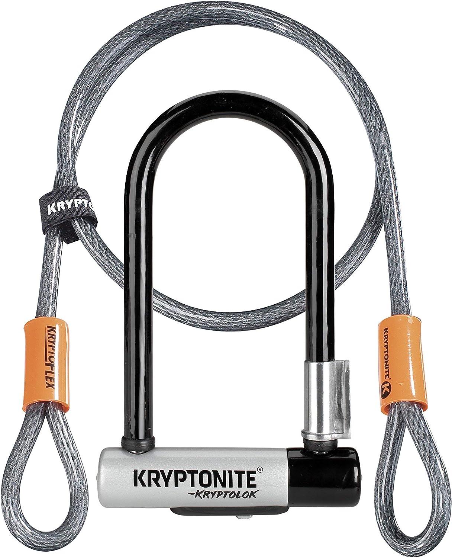 Kryptonite (001973/001683 ANTIRROBO U KRYPTOLOK Mini-7 w/Flex Cable Y FLEXFRAME Bracket (82x178) Candado, Calidad, Gris