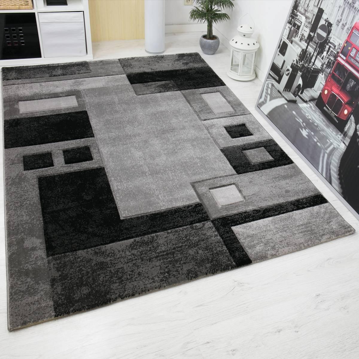 VIMODA Modern Designer Teppich, Kariert und Meliert,Sehr Dicht Gewebt - ÖKO TEX Zertifiziert, Farbe Grau, Maße  200x290 cm