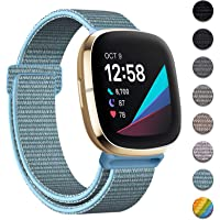 HAPAW Nylon Bands Compatible with Fitbit Sense/Versa 3, Soft Adjustable Breathable Sport Replacement Strap Women Man…