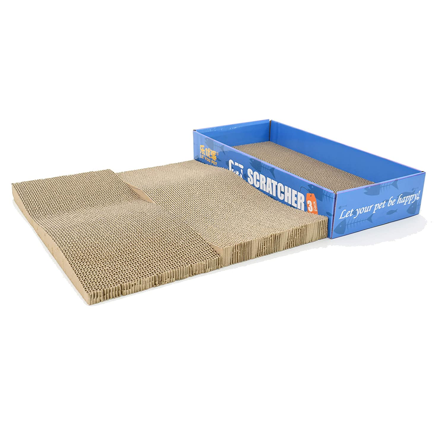 3 in 1 Cat Scratcher Cardboard Scratching Post with Catnip Scratch Lounge Toy Pad& Board,Two Pieces in One Box, Kitten Bed for Large Medium Small Cats, Furniture Savor 81Bo8Jl1YqL
