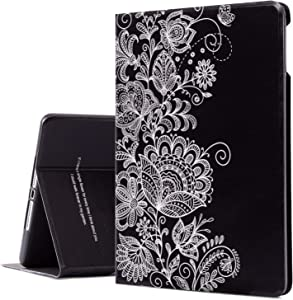 iPad Air 2 Case, iPad Air Case, Black Paisley iPad 9.7 Inch Case Protective Cover for Apple 6th/5th Generation, Multi-Angle Viewing Case with Adjustable Stand Auto Wake/Sleep Function (Paisley)
