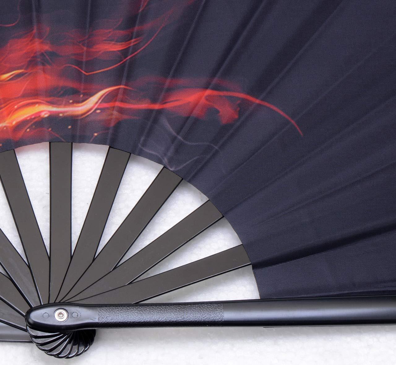 HONSHEN Decorative Folding Fans Folding Fan Chinese Japanese Hand Fan Rave Fan Nylon-Cloth Fan Dance Fans for Women//Men Fire Wolf