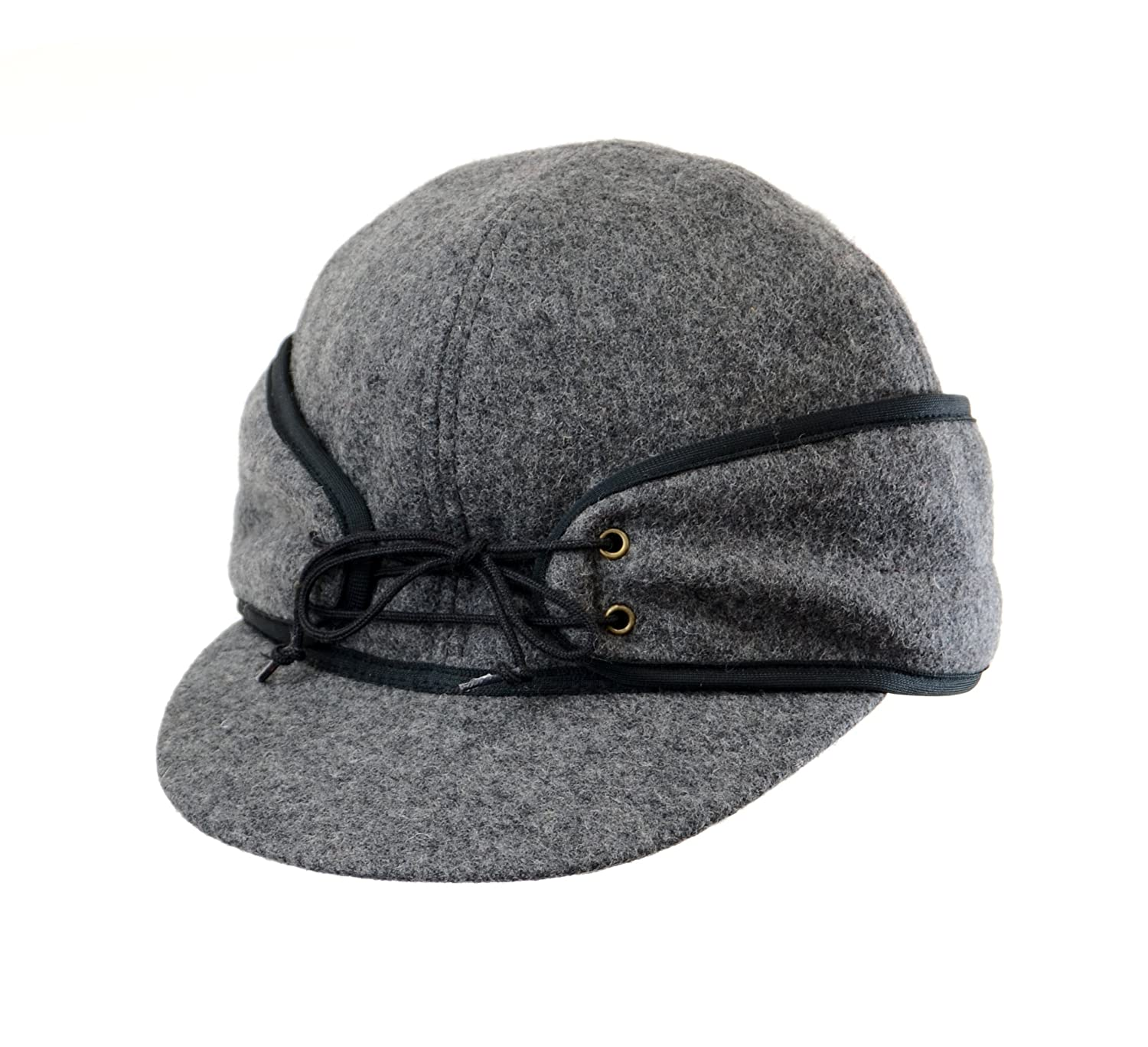 c3219134e5b Amazon.com  Crown Cap Wool Blend Solid Color Railroad Cap  Sports   Outdoors