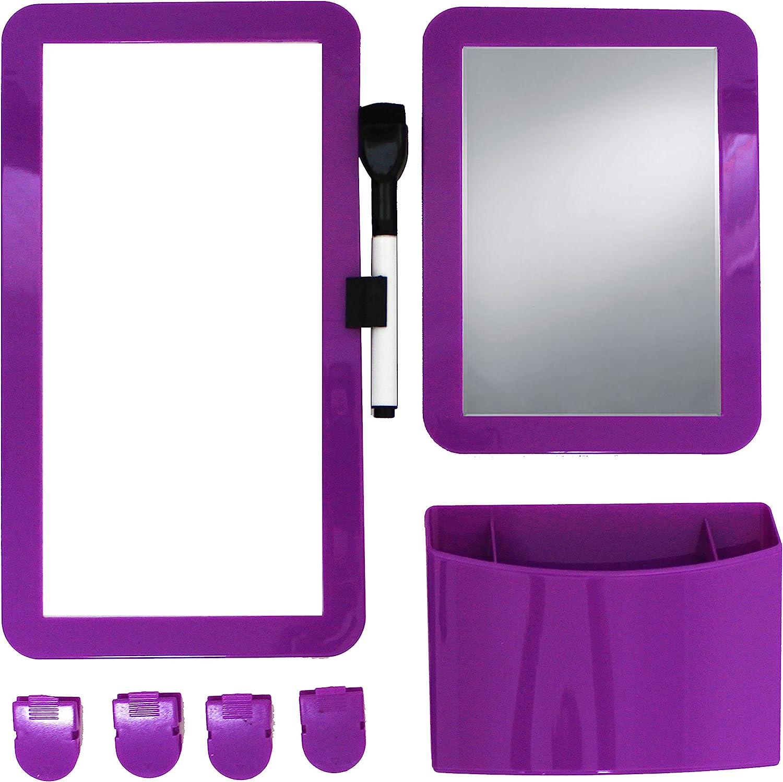 Inkology 8 Piece Magnetic Locker Set, Includes Utility Bin, Dry Erase Board & More, Royal Purple, 239-0