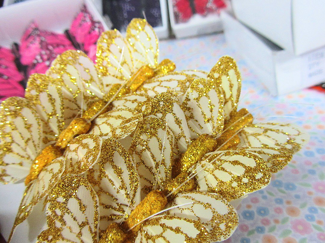 "12pc 4 D Monarch Butterfly 1.25"" With Wire (L68 Gold Glitter) Us Seller Ship Fast by Www.Embellishmentworld.Com"