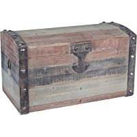Household Essentials Stripped Weathered Wooden Storage Trunk, Small,