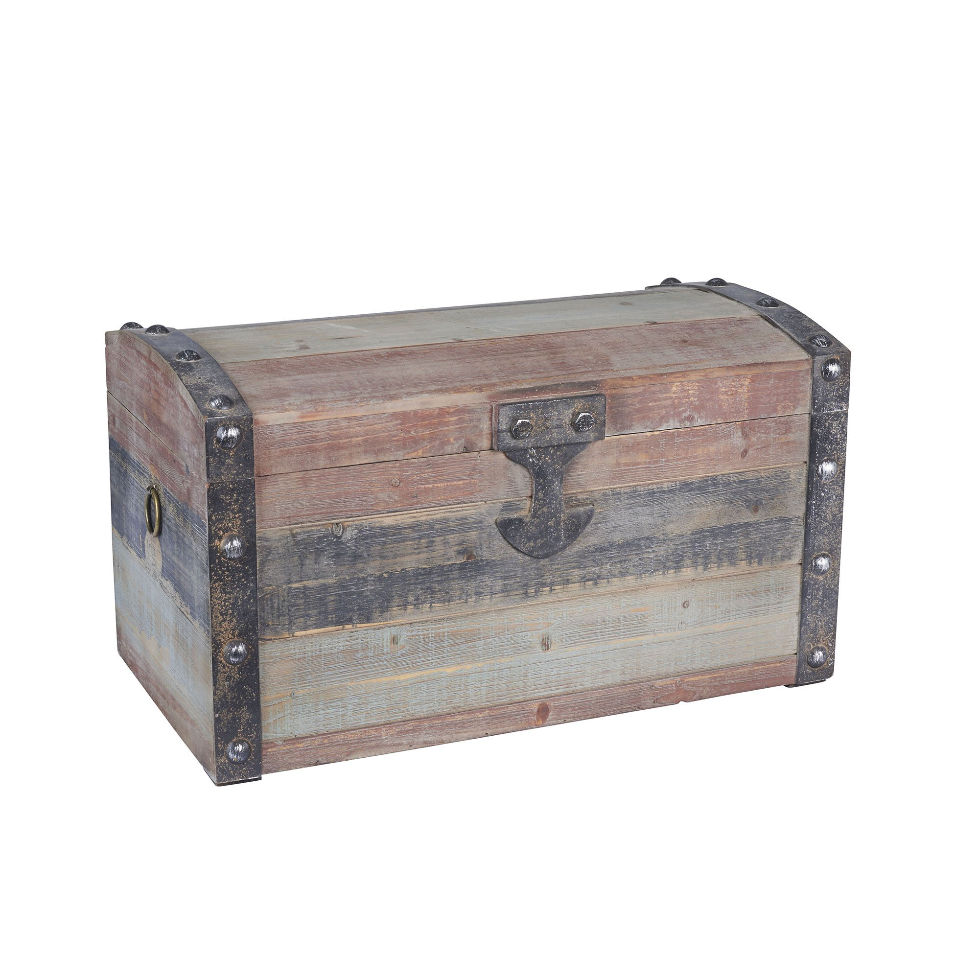 Household Essentials Stripped Weathered Wooden Storage Trunk, Small