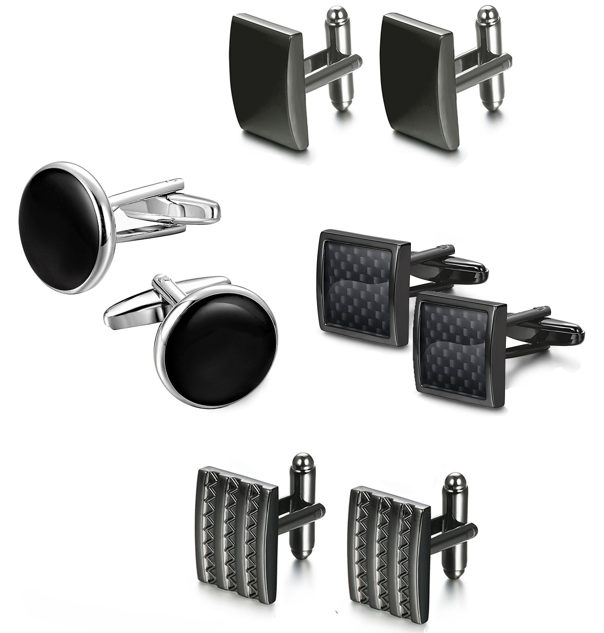 FIBO STEEL Class Cufflinks for Men Black Unique Wedding Cufflink Set Mens Dad Birthday Gifts by FIBO STEEL (Image #2)