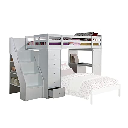 Amazon.com: ACME Freya White Loft Bed with Bookcase Ladder: Kitchen ...