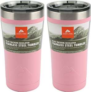 Ozark Trail 20-Ounce Double-Wall, Vacuum-Sealed Tumbler (2, Pink)