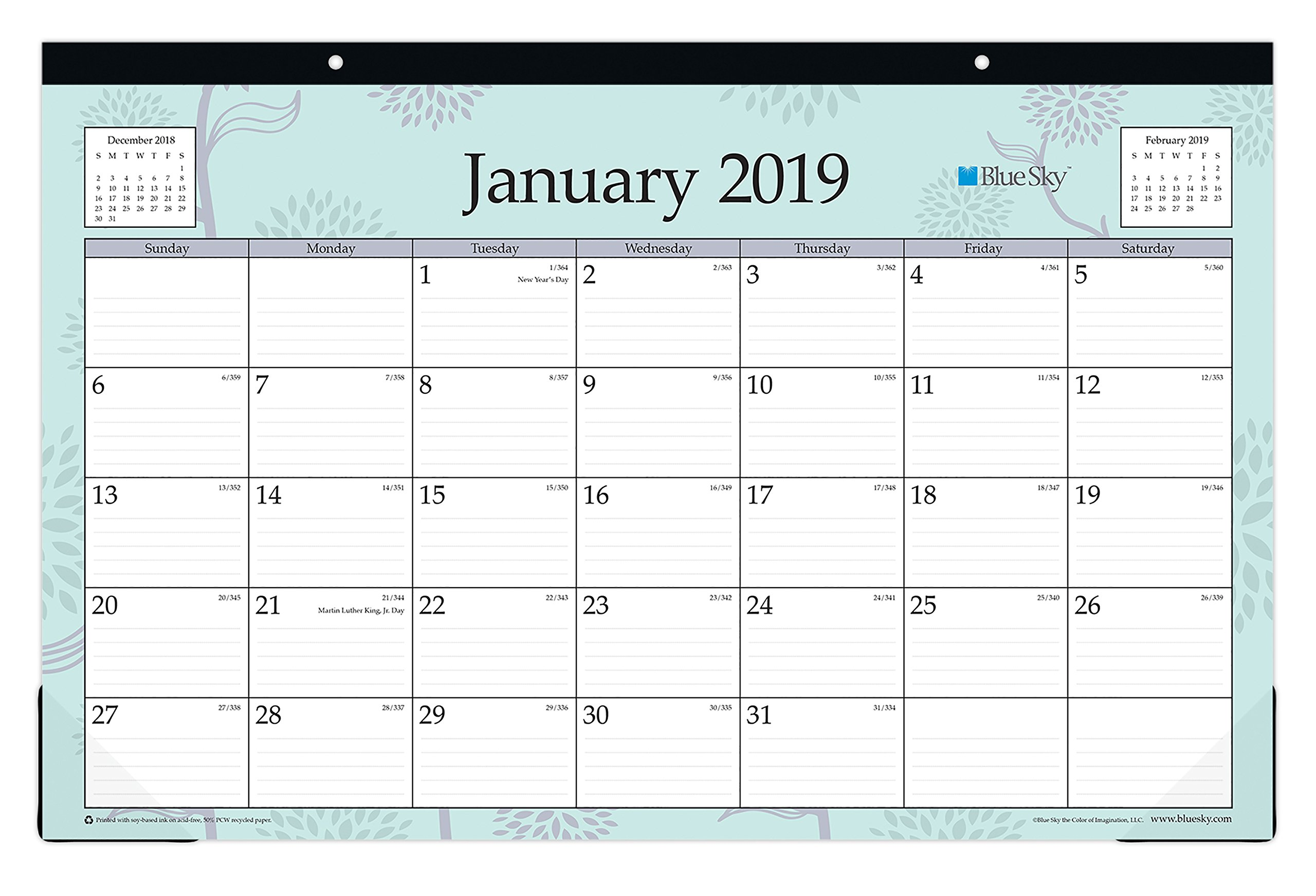 Blue Sky 2019 Monthly Desk Pad Calendar, Ruled Blocks, 17'' x 11'', Rue Du Flore