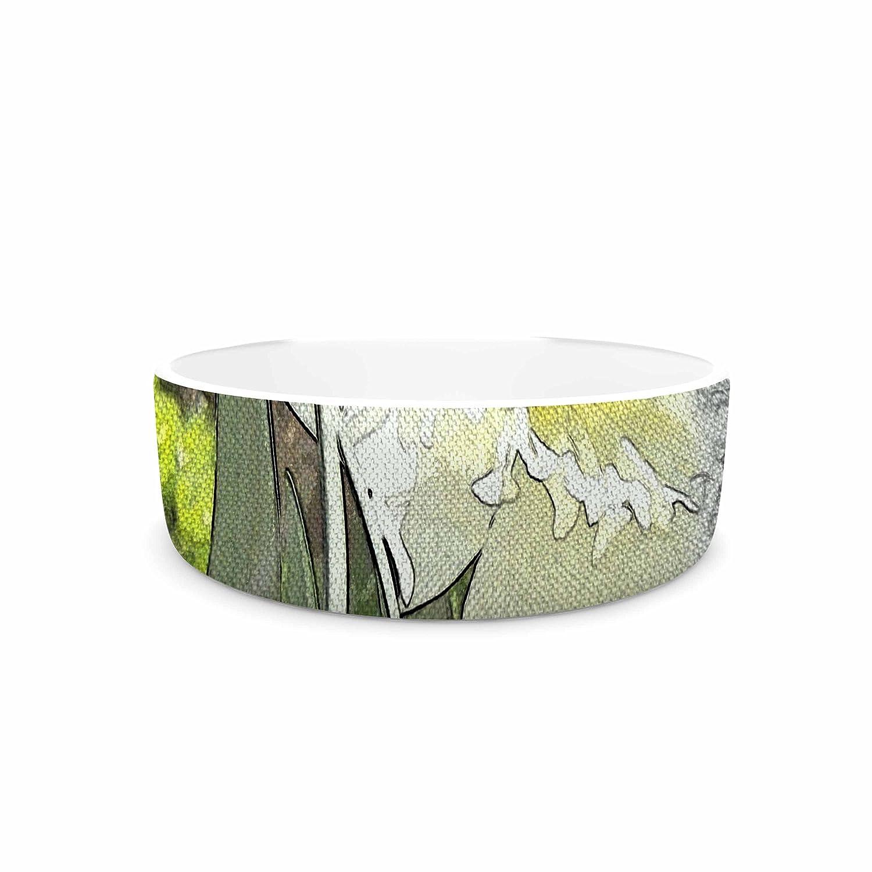 KESS InHouse Cyndi Steen Daffodil Multicolor Digital Pet Bowl, 7  Diameter