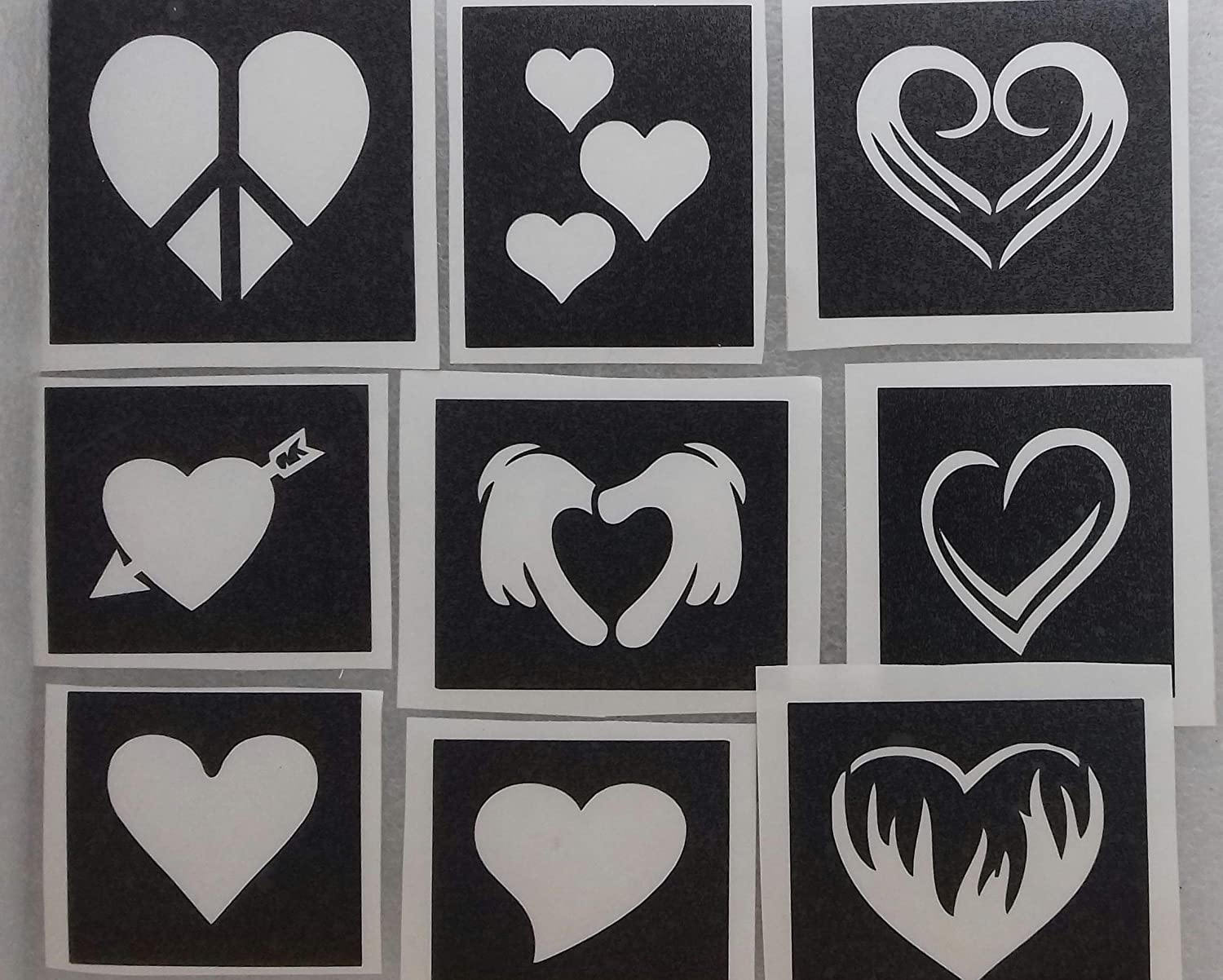 30 x heart themed stencils for glitter tattoos / airbrush tattoos / henna / cakes / many other uses Hearts girls love Body Art Desire