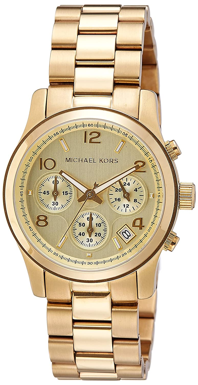 80a72af74e516 Amazon.com  Michael Kors Midsized Chronograph Gold Tone Womens Watch  MK5055  Michael Kors  Watches