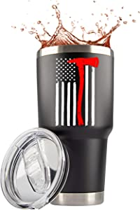Firefighter Gifts for Men | 30 Ounce Stainless Steel Travel Tumbler/Mug with Lid for Coffee Cup| Thin Red Line Flag Design for Fireman | Fire Department | First Responder (Black, 30 Ounce)