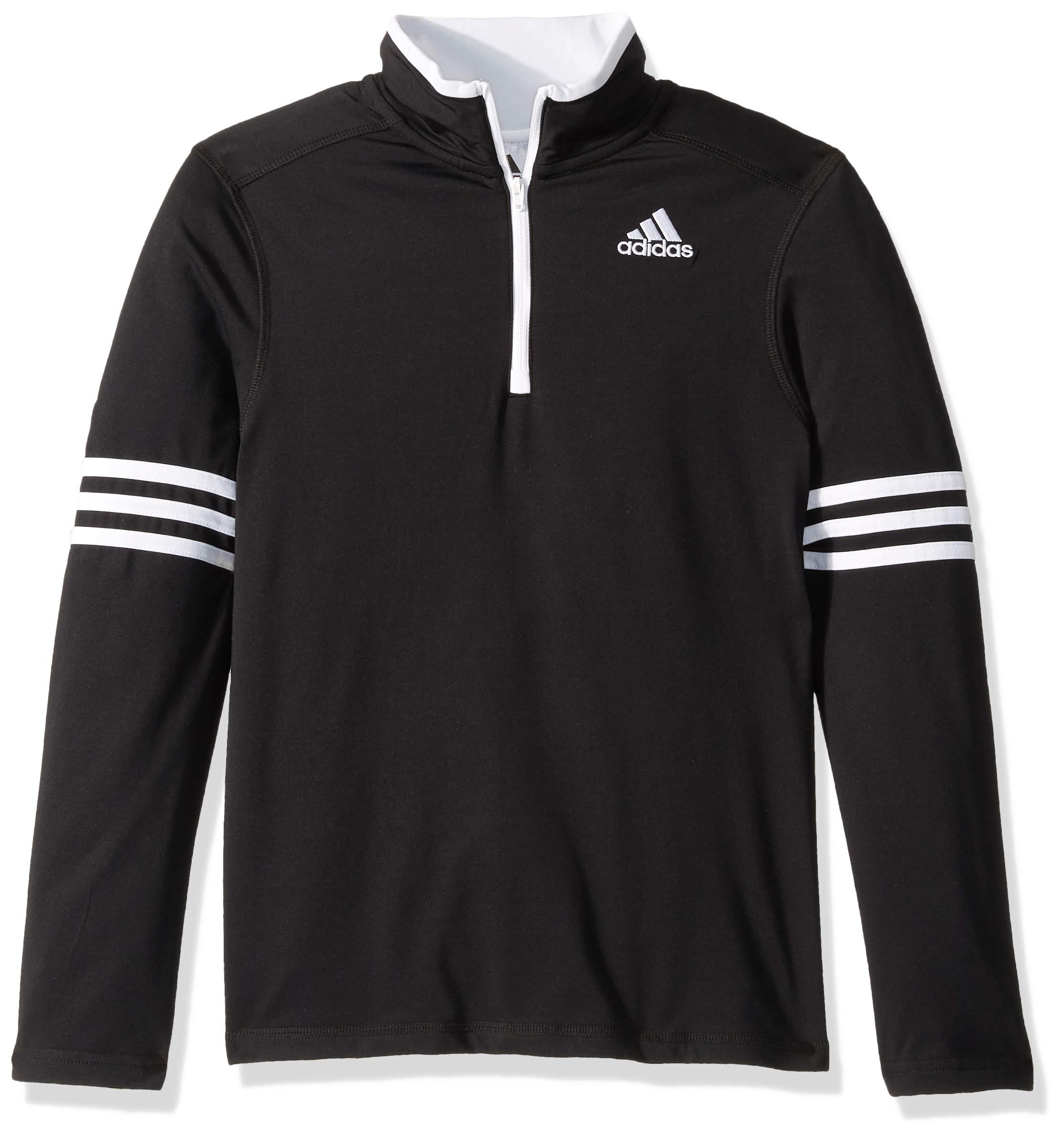 adidas Boys' Big Athletic Quarterzip, Black, S (8/10)