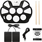 Artempo Portable Electronic Roll up Drum Pad Kit, Silicon Foldable, Record Function, with Sticks