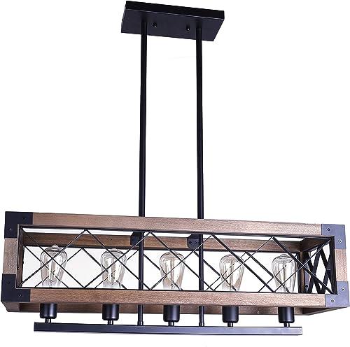 Rustic 5-Light Wood Kitchen Island Light Modern Industrial Rectangular Dinning Room Chandelier Island Light