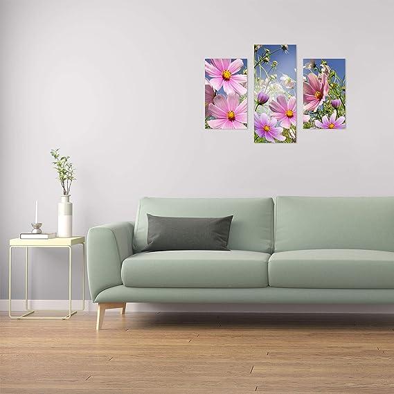 Wandbilder Blumen Pink 90x70 Glas 3 Teilig Acryl Bild Acrylglasbilder Wanddeko