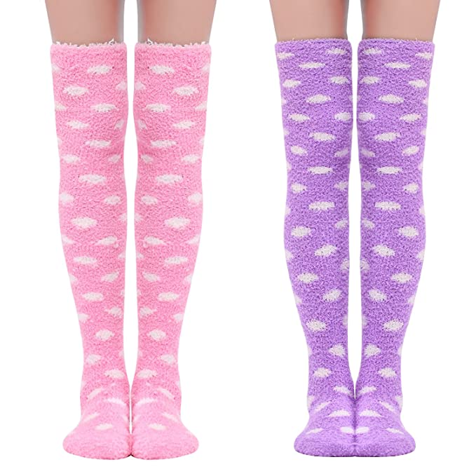 053691f3e05 Amazon.com  Littleforbig Cute Coral Fleece Thigh High Long Dotted Socks 2  Pairs  Clothing