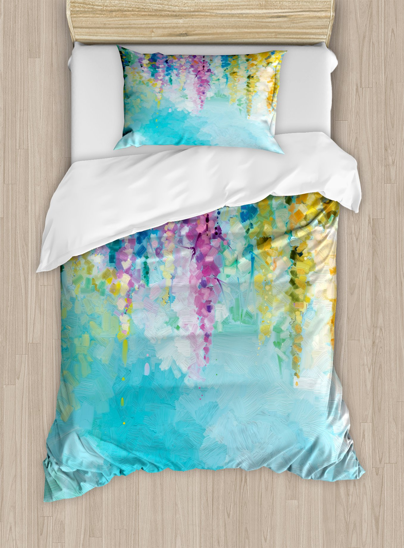 Ambesonne Flower Duvet Cover Set Twin Size, Abstract Ivy Romantic and Inspiring Landscape Spring Floral Artwork Nature Theme, Decorative 2 Piece Bedding Set with 1 Pillow Sham, Multicolor