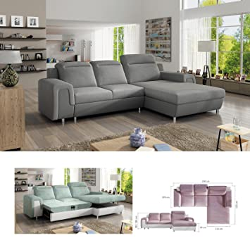 BMF Panamá Mini Gris Moderno Esquina sofá Cama de Piel ...