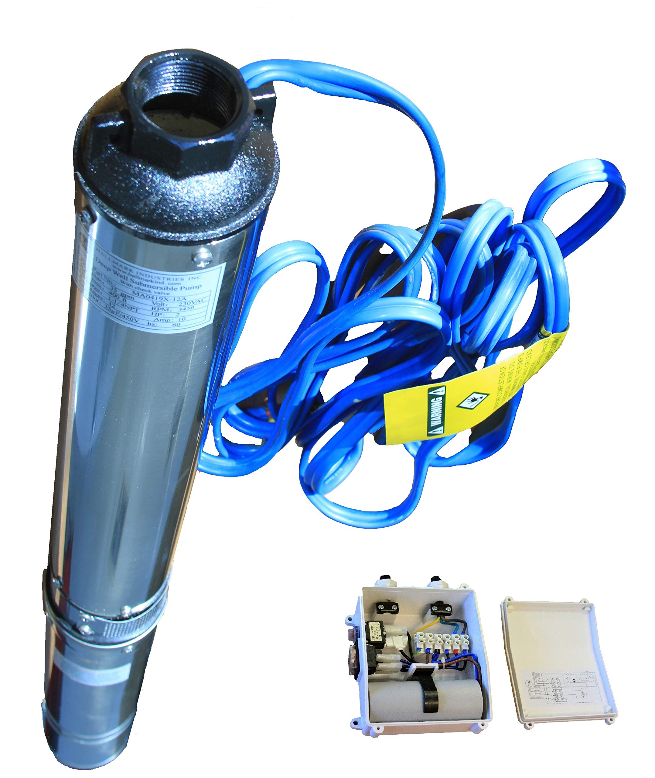 Hallmark Industries MA0419X-12AEXT Pump, 4'' Deep Well Submersible, 2 hp, 230VAC/60Hz/1Ph, 35 GPM Max, Stainless Steel, with Control Box, Stainless Steel