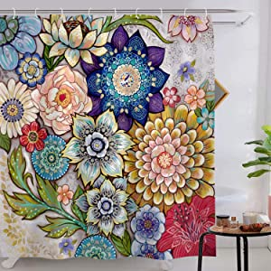 Lifeel Boho Floral Shower Curtain for Bathroom, Colorful Flower Vibrant Blossom Shower Curtain Set, Multi Color