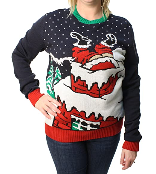 Ugly Christmas Sweater Le Peuple Santa Light Up Sweatshirt Pullover