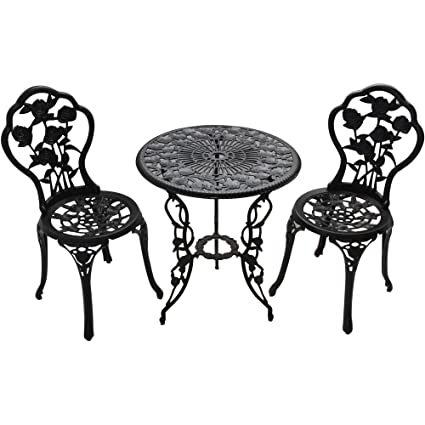 Patio Furniture Outdoor Garden Rose 3 Piece Bistro Set 1 Table And 2 Chairs  Aluminum